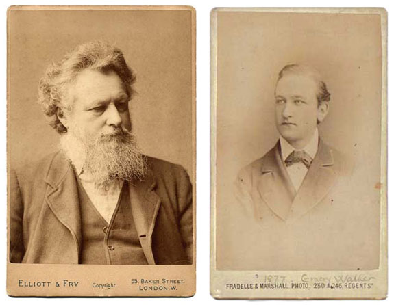A nice juxtaposition of images perhaps, but a complete fake chronologically speaking. The photograph of Morris on the left was taken in the late 1880s while the photograph of Emery Walker was taken in 1877 when he was a mere 26 years old. To picture it more accurately, imagine a slightly younger Morris and an older Walker.