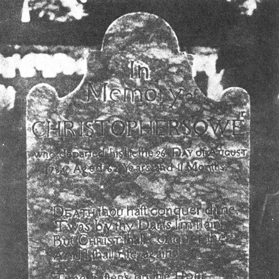The original headstone for Christopher Sower Jr. (1721-1784) from Martin Brumbaugh's 1899