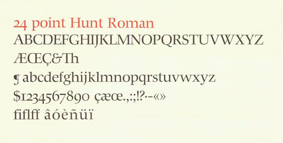 """A detail of 24 point Hunt Roman from """"Hunt roman; the birth of a type."""""""