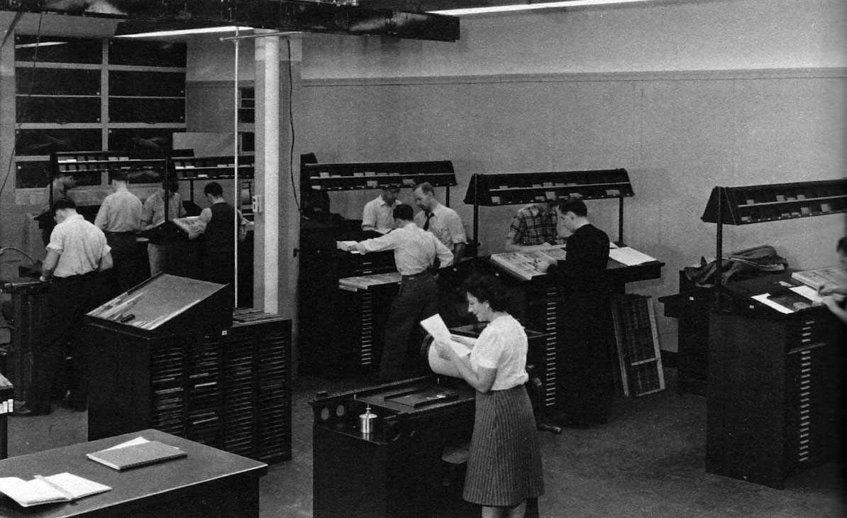 Composing room, School of Printing, Rochester Institute of Technology, 1948. Alexander Lawson is at center type bank.